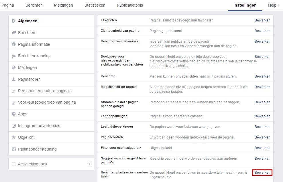 Facebook instellingen taal