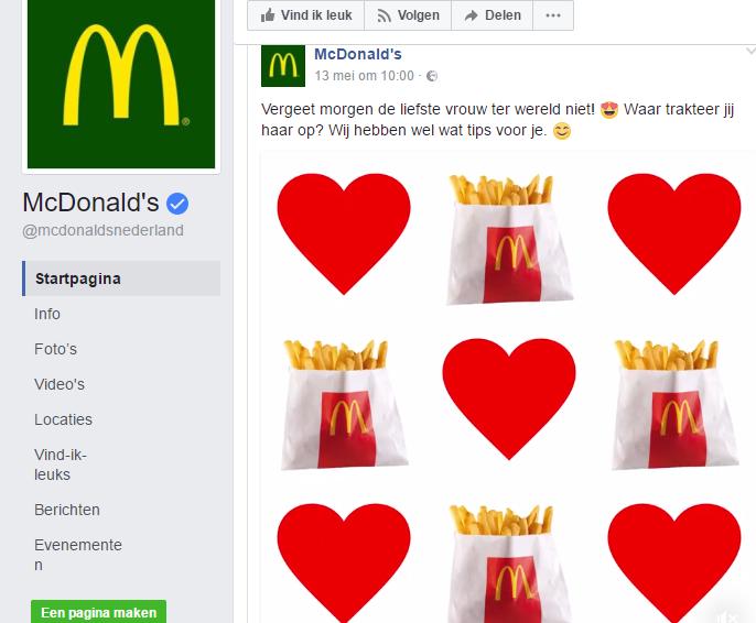 mcdonalds social media Moederdag