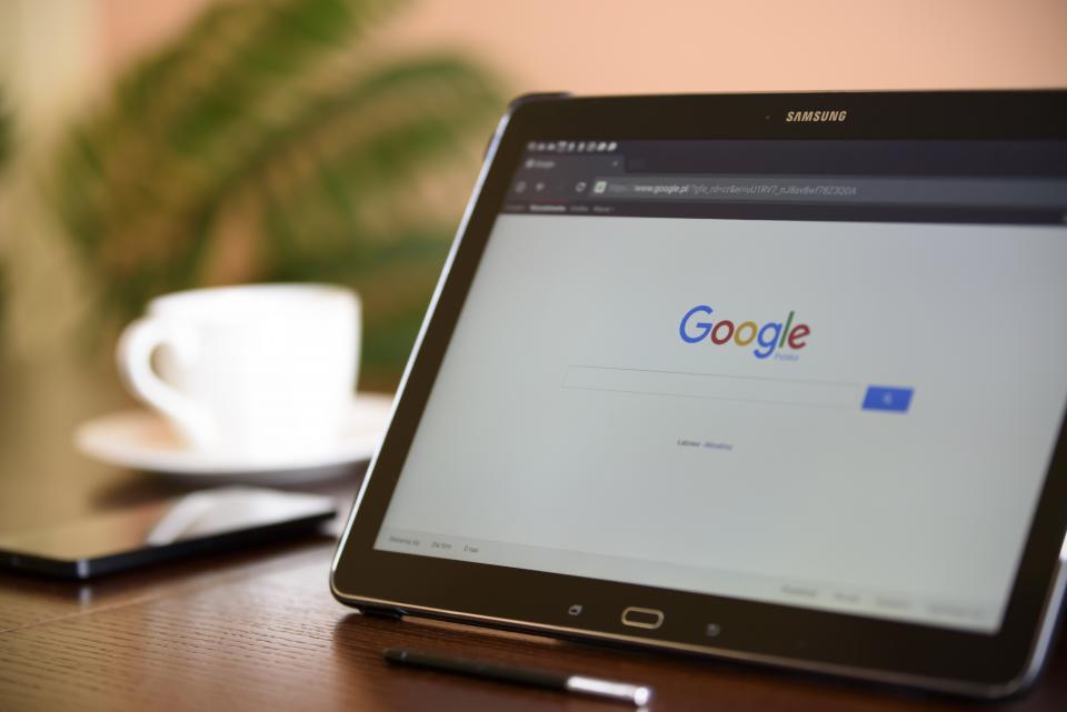 Mobiele site op tablet