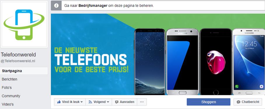 Facebook bedrijfspagina Telefoonwereld