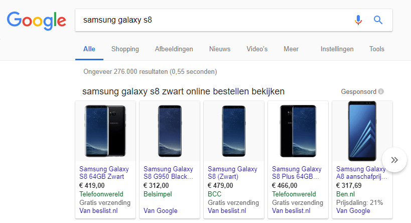 Google Shopping Resultaten